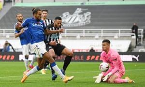 Everton's Dominic Calvert-Lewin scores their first goal.