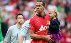 Rio Ferdinand with his daughter at Old Trafford.