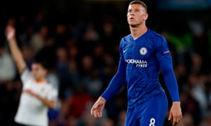 Ross Barkley reacts after missing a penalty in Chelsea's defeat to Valencia.