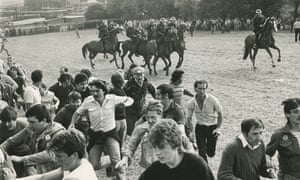 Riot police confront miners at Orgreave during the 1984 miners' strike
