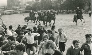 Riot police confront striking miners at Orgreave in 1984