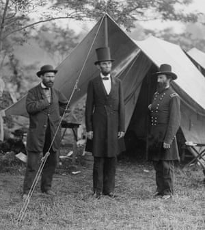 Allan Pinkerton, left, with Abraham Lincoln and Maj Gen John McClernand at Antietam in October 1862.