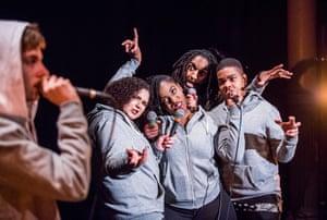 Tyler Worthington, Nadine Rose Johnson, Aminita Francis, Germane Marvel and Nathaniel Forder-Staple in Frankenstein at Battersea Arts Centre.