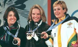 Stegall (R) with her bronze medal at Nagano, alongside German gold medallist Hilde Gerg (C) and Italian silver medallist Deborah Compagnoni.