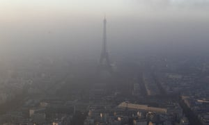 A view of the Eiffel tower and the city surrounded by high levels of air pollution on 2 November 2015.