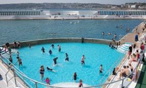 The refurbished art deco Jubilee Pool in Penzance, Cornwall