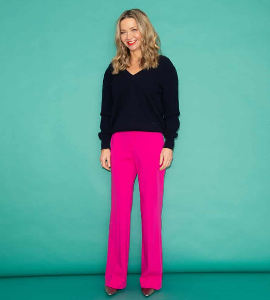 Jess Cartner-Morley in smart pink trousers and black top