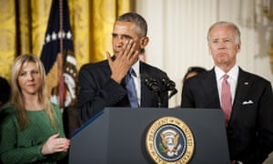 Obama speaks in Washington to victims of gun violence in January 2016.