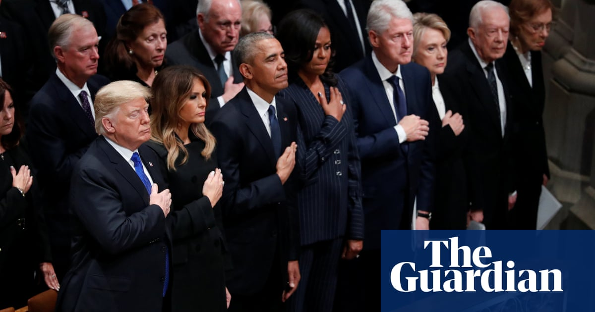 Trumps Obamas And Clintons Attend Funeral Of George Hw