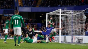 Chelsea's Olivier Giroud bundles the ball home to give the home side the lead.