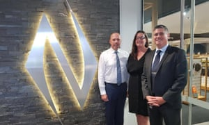 Home Affairs minister Peter Dutton meeting with Laura Patterson from the Shooting Industry Foundation of Australia and Nioa official David Briggs in Brisbane last month.