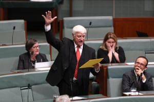 Bob Katter delivering a particularly theatrical performance during question time.