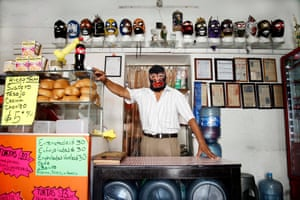 Retired wrestler Principe Negro at his taco restaurant in Oaxaca