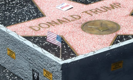 Contentious … a border wall placed Donald Trump's Hollywood walk of fame star.