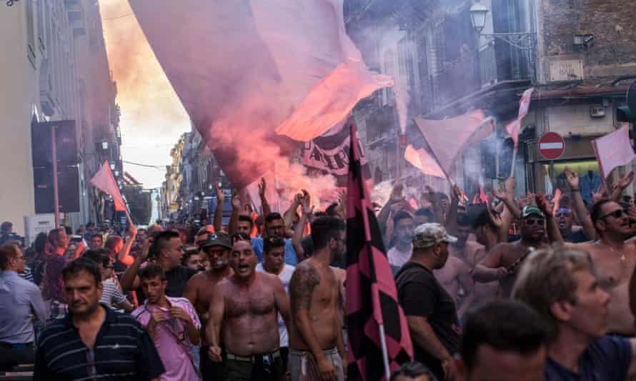Ultras of Palermo protest against the president Maurizio Zamparini in 2017.