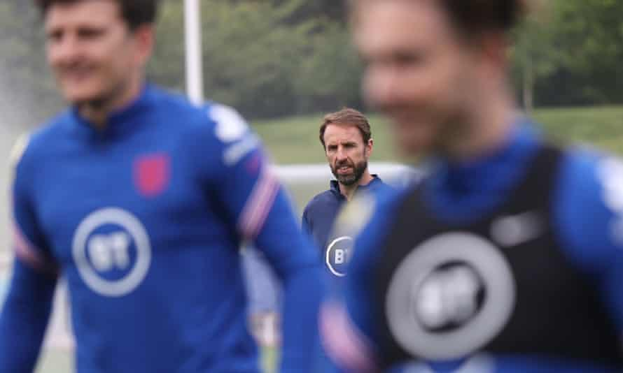 Gareth Southgate looks on during an England training session at St George's Park in Burton upon Trent