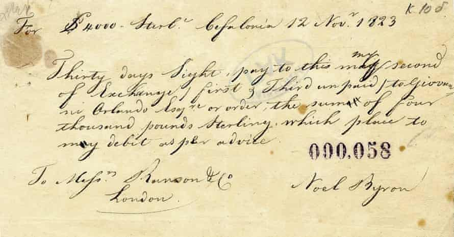 Note of exchange for £4,000 signed by Lord Byron.