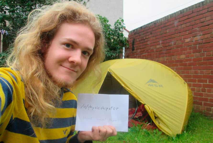 Evan Eames, 24, of Montreal, decided to camp after realising he could not afford rent on top of his £20,000 tuition fees.
