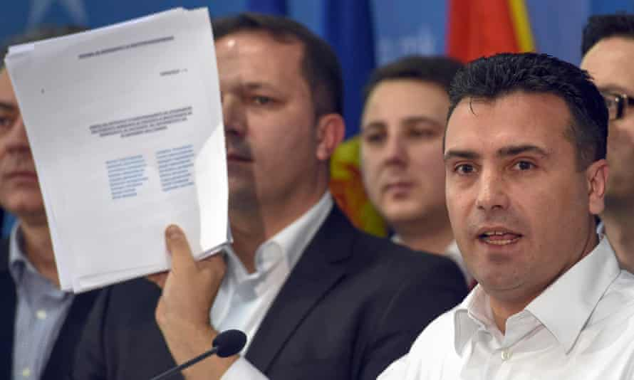Macedonia's opposition leader, Zoran Zaev, shows a list of journalists' names he claims were subjected to wiretapping. He said his party would file criminal charges against Nikola Gruevski, the prime minister, and Gruevski's cousin and spy chief, Sasho Mijalkov, over the alleged surveillance.