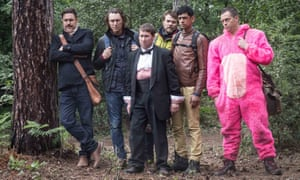 Into the woods: the cast of Stag (l-r) Rufus Jones, JJ Feild, Jim Howick, Pilou Asbæk, Amit Shah and Stephen Campbell Moore .