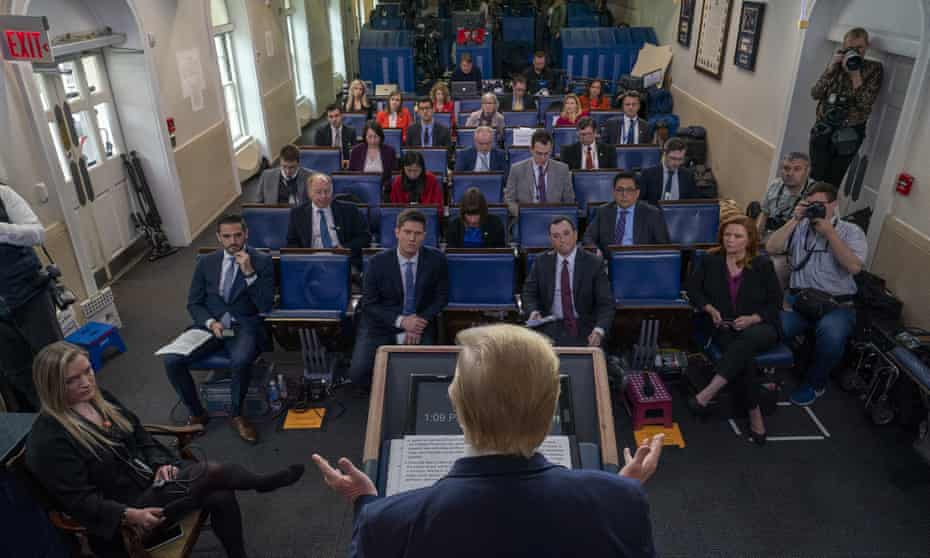 Donald Trump speaks during a briefing in the James Brady press briefing room at the White House.
