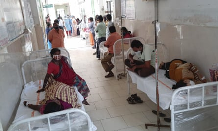 Patients waiting for treatment at the district government hospital