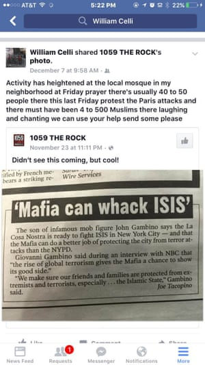 Celli claimed members of his local mosque were celebrating on the day of the Paris attacks.
