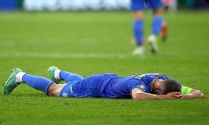 Andriy Yarmolenko of Ukraine looks dejected following defeat.