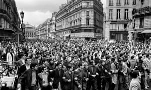 Protesters descend the Avenue de l'Opéra in Paris, during the May-June 1968 events in France.