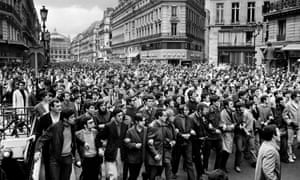Protesters march through central Paris in May '68.,