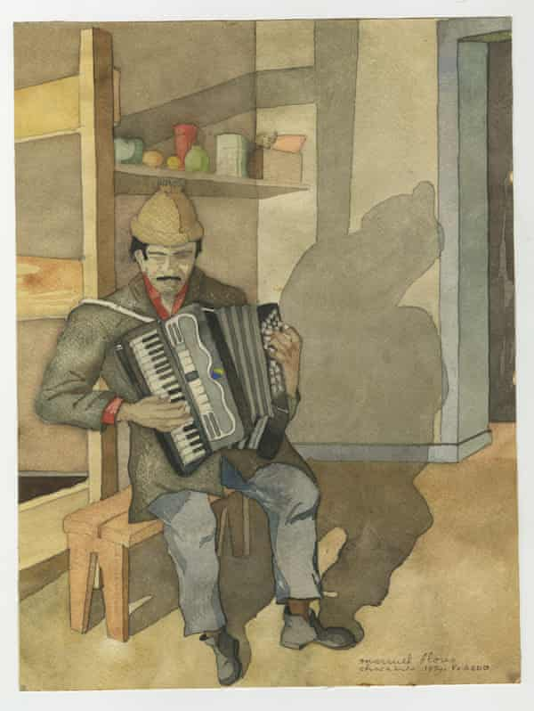 """A watercolour painted in Chacabuco concentration camp. The artist (Francisco Aedo) is one of the """"disappeared"""", however the musician portrayed survived"""