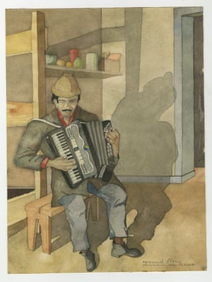 "A watercolour painted in Chacabuco concentration camp. The artist (Francisco Aedo) is one of the ""disappeared"", however the musician portrayed survived"