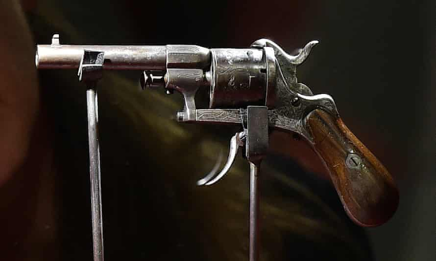 The revolver on display at the Beaux-Arts Mons museum in Belgium last year.