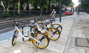 Obikes available for hire in east London.