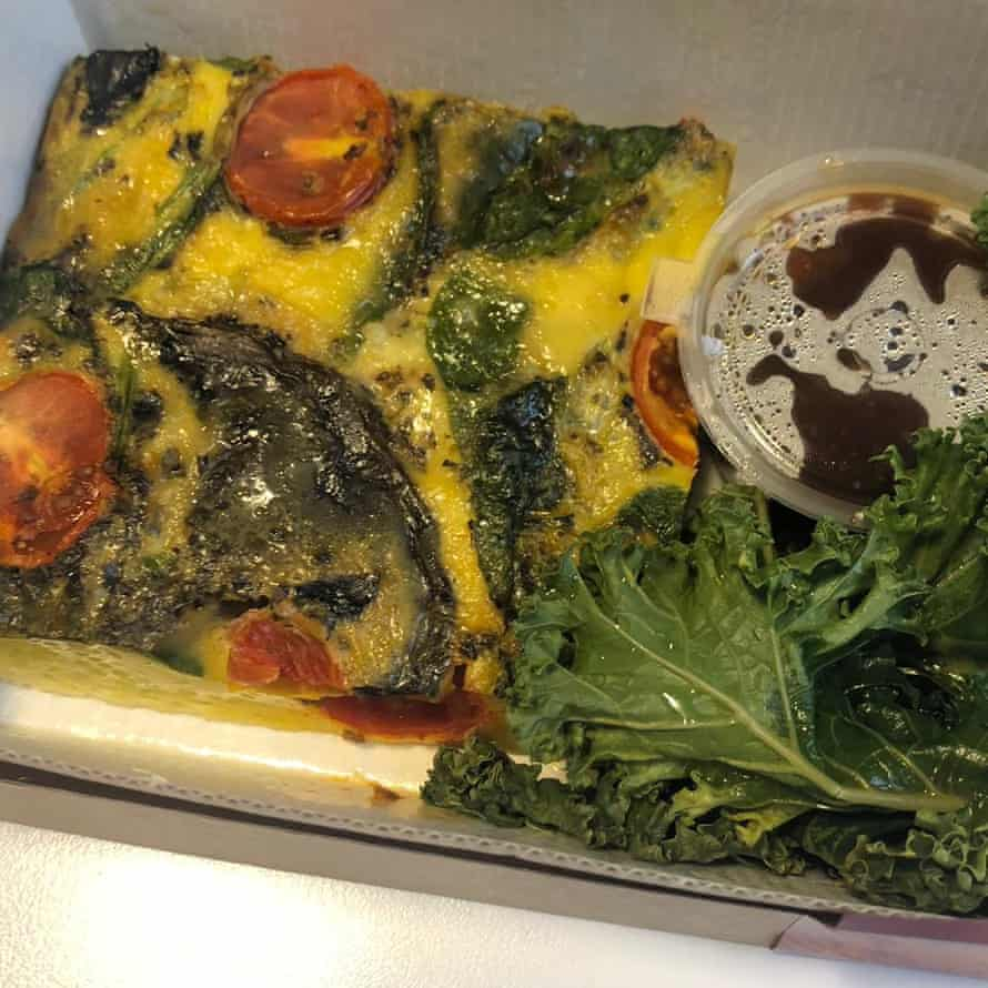 Mushroom and cherry tomato frittata from Alf's, London EC2 – breakfast kale is the best kale.