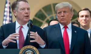 US Trade representative Robert Lighthizer speaks next to Donald Trump from the Rose Garden on 1 October.