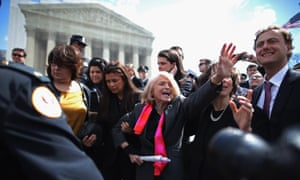 Edith Windsor is mobbed by journalists and supporters following oral arguments at the supreme court in March 2013.