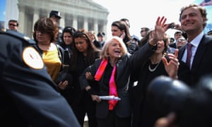 Edith Windsor, aged 83, leaves the supreme court in March 2013.