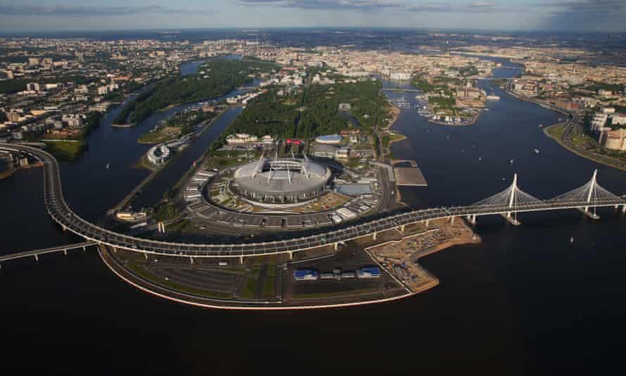 Aeriel view of St Petersburg Stadium.