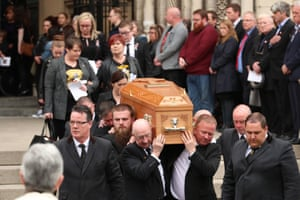 Lyra McKee's coffin is carried out of the cathedral after the service