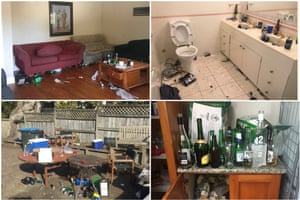 The scene of a 120-person leaving party in Auckland - before a visit by Morning After Maids