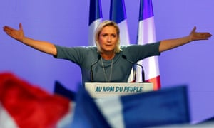 Marine Le Pen, French National Front (FN) political party leader, gestures during an FN political rally in Frejus, France, September 18, 2016. REUTERS/Jean-Paul Pelissier/File Photo