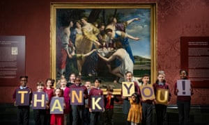 Children from the Soho Family Centre saying thank you to the public for helping to raise the £2m needed to purchase The Finding of Moses.
