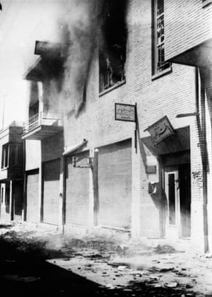 Pro-government newspaper office on fire