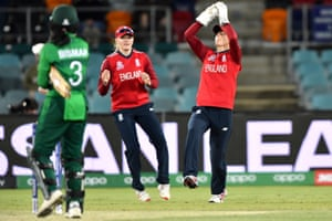 England's wicketkeeper Amy Jones takes a successful catch to dismiss Pakistan's captain Bismah Maroof.