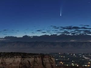 Neowise seen in the early morning from the Colorado national monument, in the US, on 9 July