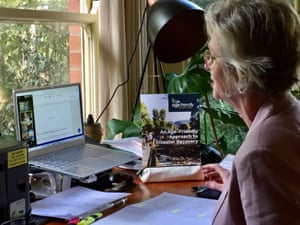The independent member for Indi, Helen Haines, holds a Zoom conference during the coronavirus outbreak.
