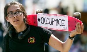An Occupy Ice activist in Portland.