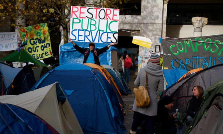 2011: The Occupy London tent protest outside St Paul's Cathedral.