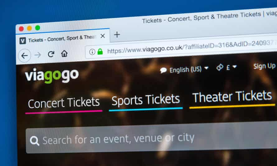 The homepage of the official website for Viagogo - the online ticket marketplace for ticket resale, pictured in 2018.